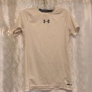 Under Armour White Fitted UPF 30 Shirt Size YSM!